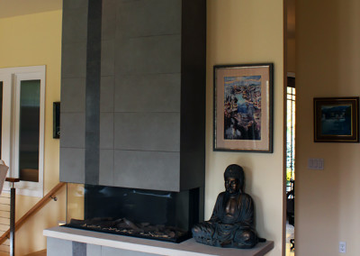 linear firepalce contemporary fireplace tile to the ceiling tile surrond raised hearth ortal fireplace