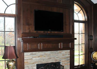 traditional fireplace walnut paneling study fireplace